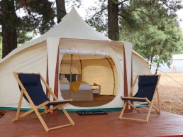 Daylesford Holiday Park Daylesford Glamping Serenity Deck Chairs Peek to inside uai